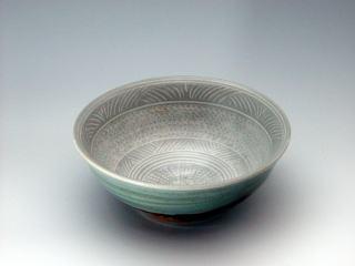 日野三島手茶碗(P04121d)