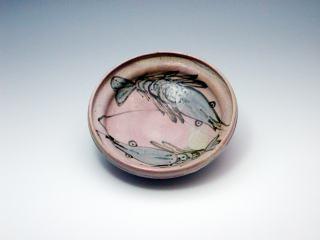 日野粉引窯変海老絵菓子鉢(P04121i)